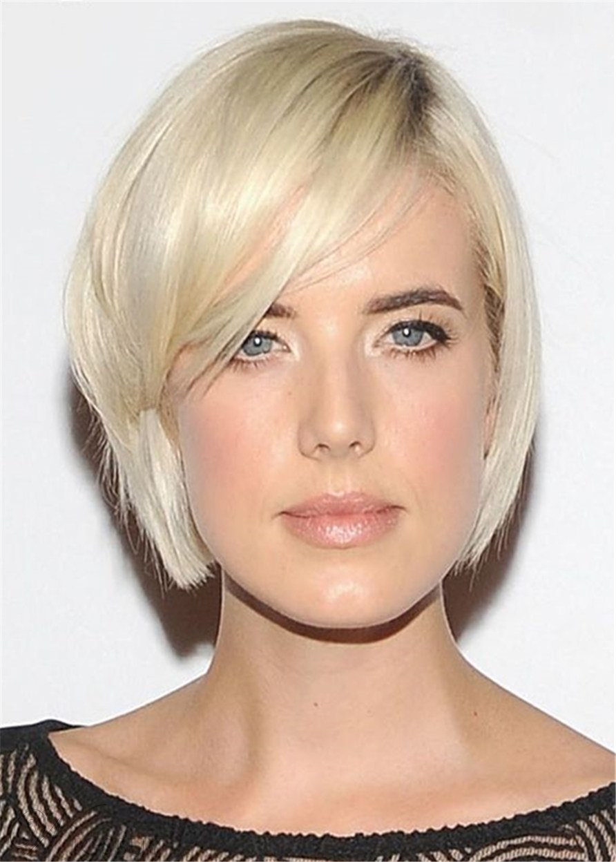 Short Bob Haircuts Synthetic Natural Straight Wig WIth Bangs For Oval Face Shapes