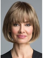 Natural Looking Women's Short Bob Hairstyle Straight Synthetic Hair Capless Wigs With Bangs 10Inch