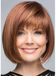Short Bob Hairstyle With Bangs Women's Straight Synthetic Hair Capless Wigs 10Inch