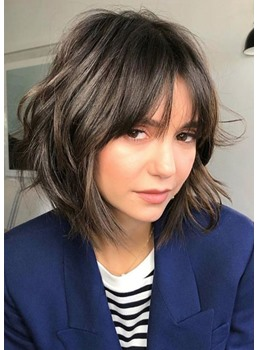 Short Layered Hairstyles Women's Wavy Synthetic Hair Capless Wigs With Bangs 12Inch