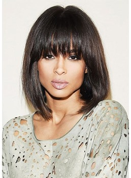 Medium Bob Hairstyle Women's Natural Straight Human Hair Lace Front Wigs With Bangs 14Inch