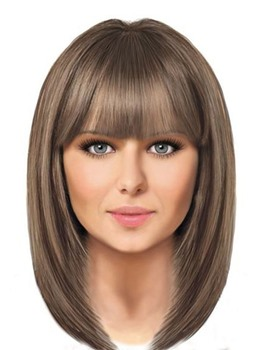 Medium Bob Hairstyles Women's Straight Synthetic Hair Wigs With Bangs Capless Wigs 16Inch