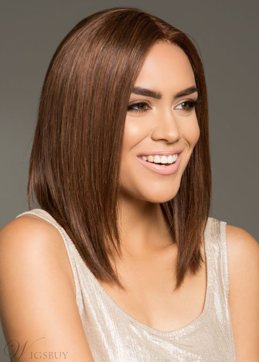 Medium Hairstyle Women's Middle Part Slik Straight Human Hair Lace Front Wigs 14Inch