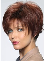 Women's Short Shaggy Hairstyle Natural Straight Human Hair Lace Front Wigs 8Inch