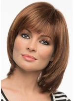 Women's Short Bob Hairstyle With Bangs Straight Human Hair Lace Front Wigs 12Inch