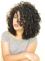 Natural Looking Women's Bob Hairstyle Curly Synthetic Hair Capless Wigs 16Inch