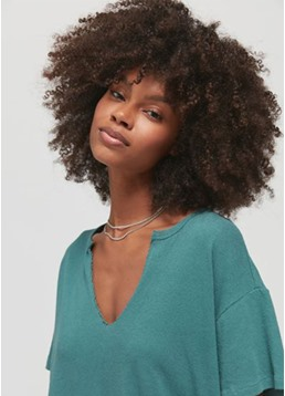 African American Women's Afro Culry Natural Look Synthetic Hair Capless Wigs 16Inch