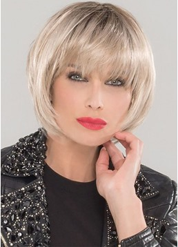 Natural Looking Women's Short Bob Hairstyle With Bangs Straight Synthetic Hair Capless Wigs 10Inch