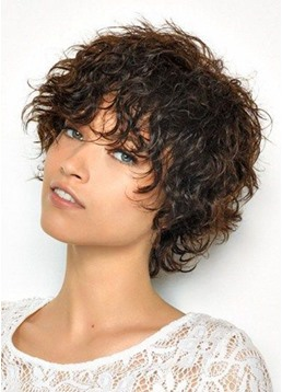 Short Curly Bob Hairstyle Women's Kinky Curly Human Hair Wigs Lace Front Wigs With Bangs 10Inch