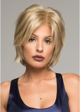 Short Layered Hairstyle Women's Natural Looking Straight Synthetic Hair Lace Front Wigs 8inch