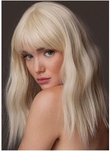 Long Synthetic Hair Wavy Wig With Bangs 18 Inches