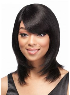 Side Part Long Layered Natural Straight Human Hair Wig With Bangs 16 Inches