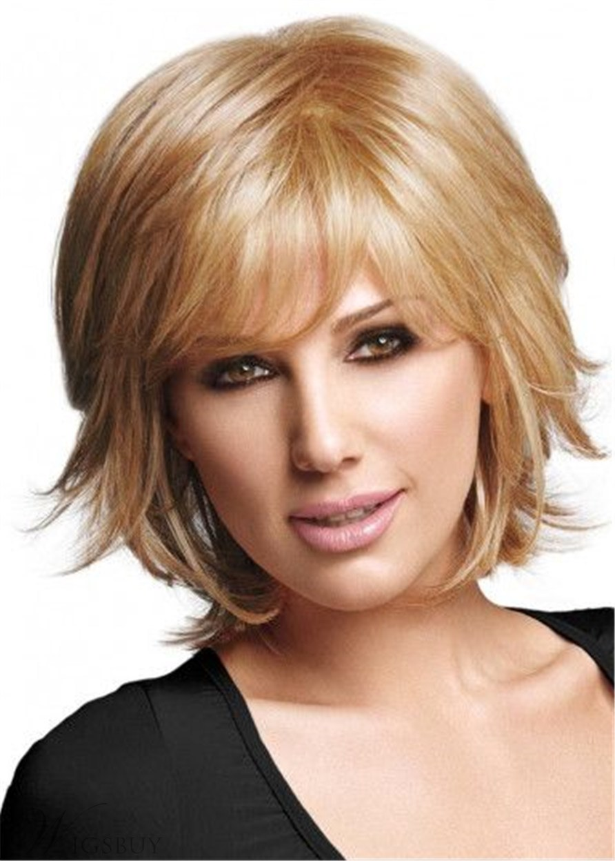 Short Layers Synthetic Hair Natural Straight Wig With Bangs10Inches