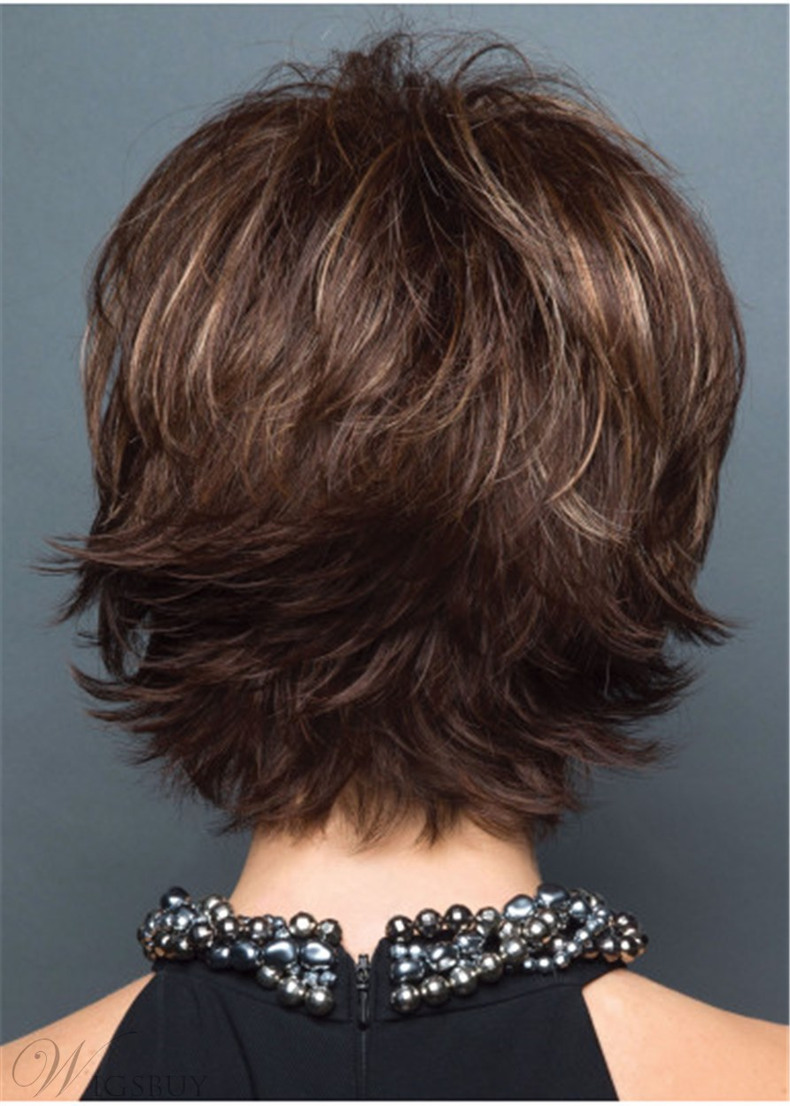 Short Layered Cut Women Synthetic Wavy Hair Wig 10Inches