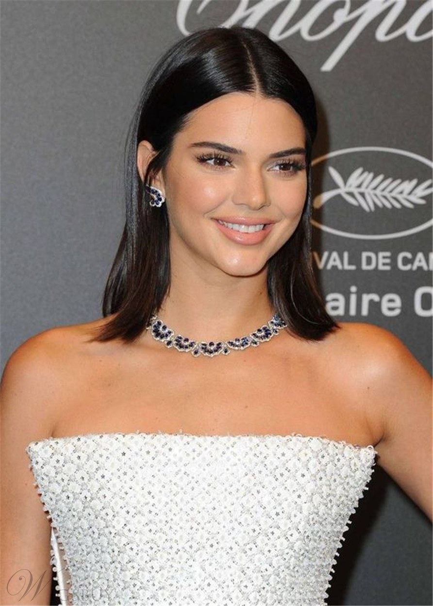 Kendall Jenner Hairstyle Straight Human Hair Wig 18 Inches