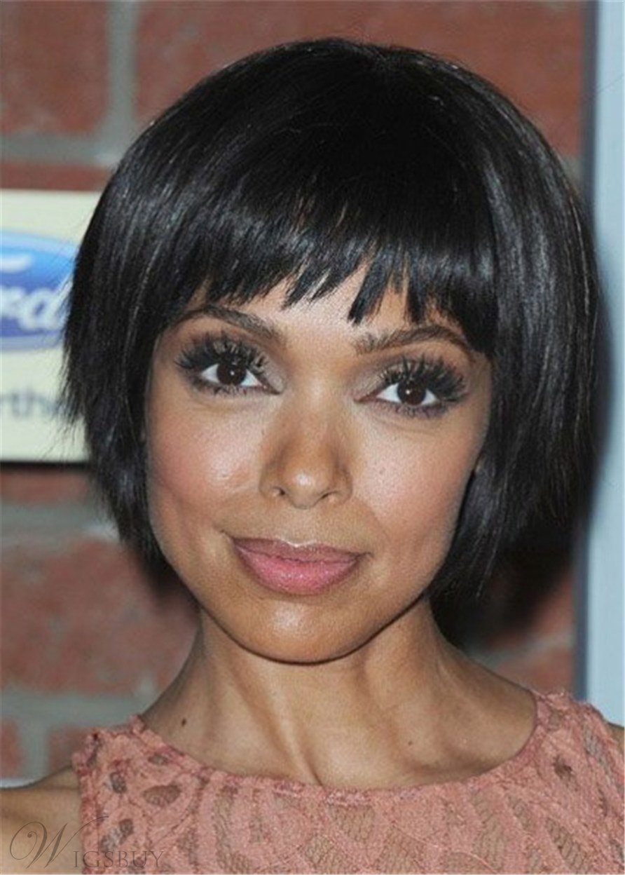 Short Bob Ful Bangs With Soft Ends Synthetic Wig 10Inches