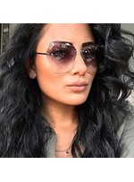 Fashion Style Women's Metal Frame Poly Carbonate Lens Rimless Sunglasses