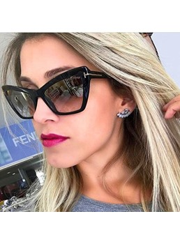Adult Unisex Women/Men's Fashion Style Resin Lens Poly Carbonate Frame Cat Eye Shape Sunglasses