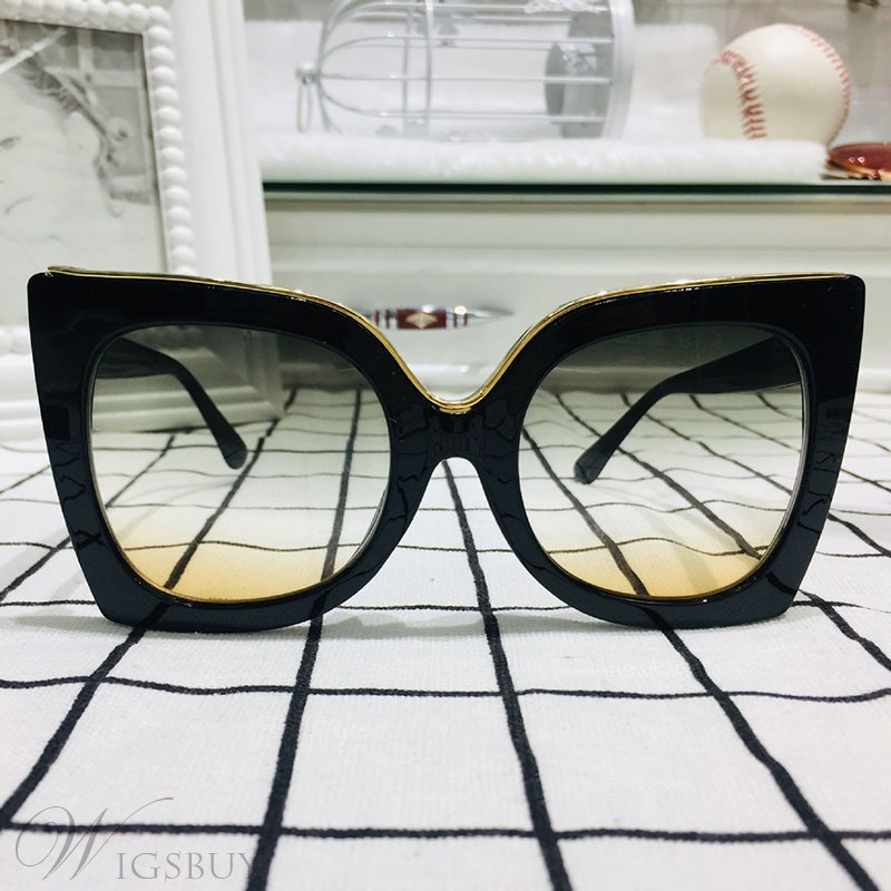 Adult Women's Fashion Style Resin Lens Poly Carbonate Frame Butterfly Shape Sunglasses