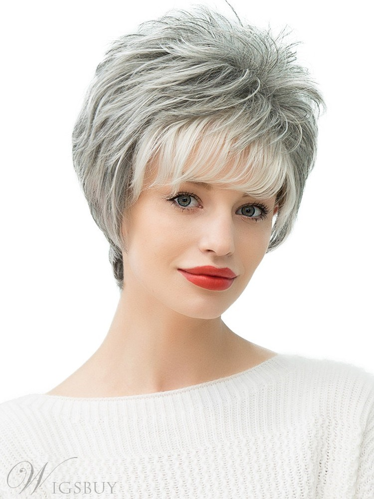 130% Density Women's Straight Human Hair Blend Capless Wigs With Bangs 10Inches