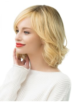 Natural Looking Women's 130% Density Wavy Human Hair Blend Capless Wigs 14Inches