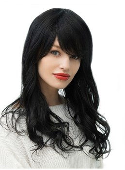 Women's Wavy Long Human Hair Blend Wigs With Bangs 130% Density Capless Wigs 24Inches
