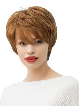 130% Density Women's Short Hairstyles Straight Human Hair Blend Wigs Capless Wigs 10Inch