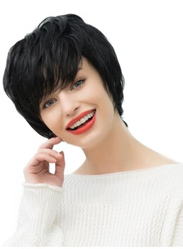 Women's Short Straight Human Hair Blend Wigs With Bangs 130% Density Capless Wigs 10Inches