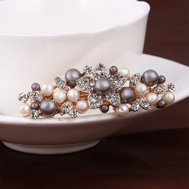 Adult Women/Ladies Korean Style Bowknot Floral Pattern Pearl Inlaid Technic Alloy Hairpin Hair Accessories