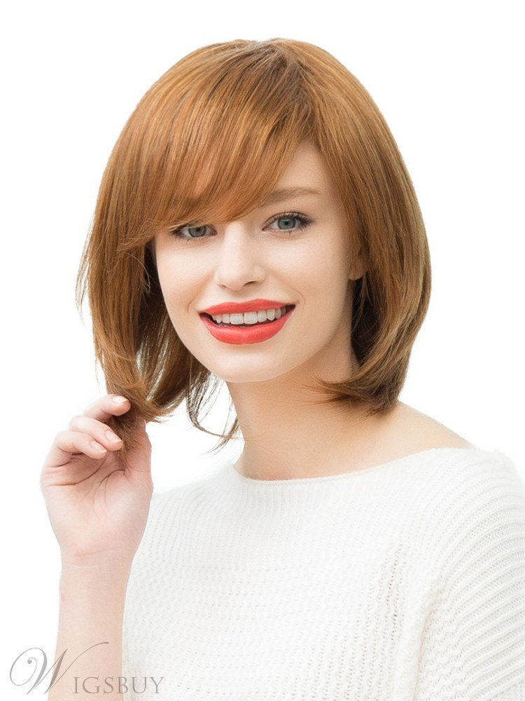Women's Straight Bob Human Hair Blend Wigs Real Looking Natural Wavy Daily Capless Wigs with Bangs 14Inches