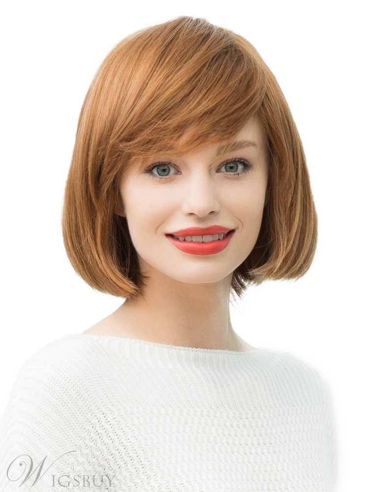 Short Bob Hairstyles Women's Straight Human Hair Blend Wigs 130% Density Capless Wigs 14Inches