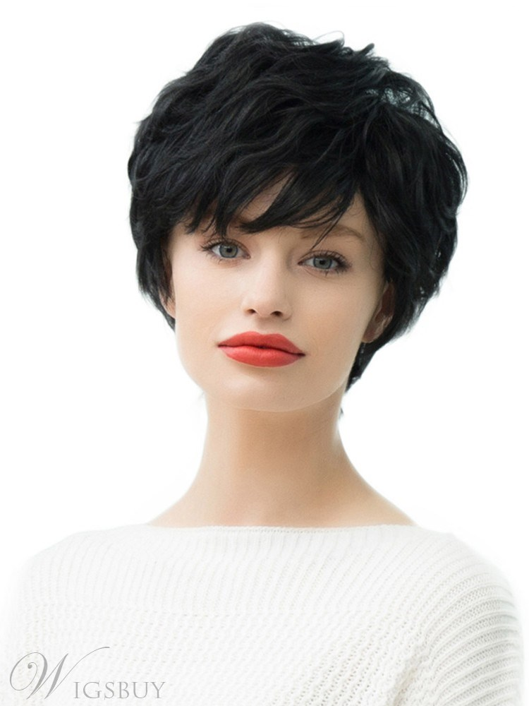 Short Women's Human Hair Blend Wigs Natural Looking Wavy Curly Black Capless Wigs With Side Bangs 10Inches