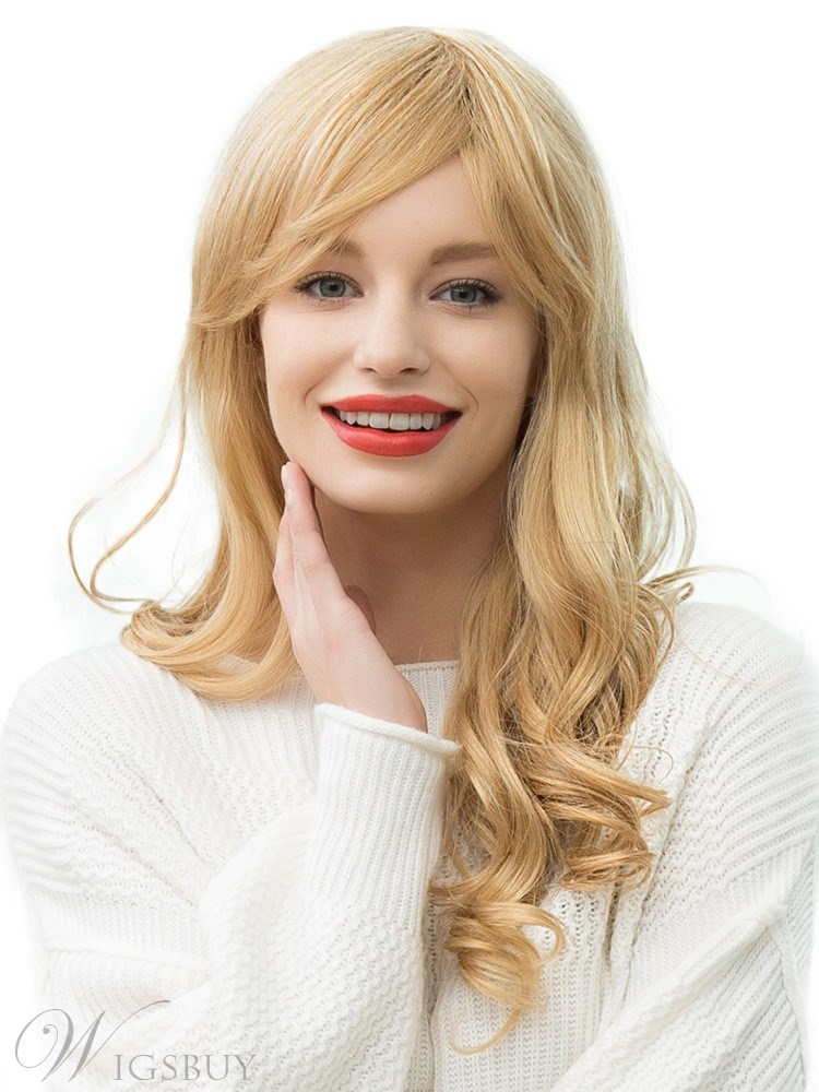 130% Density Daily Women's Long Wavy Human Hair Blend Capless Wigs With Bangs 24Inches
