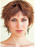 Messy Look With Short Hair Women's Shaggy Hairstyle Straight Human Hair Lace Front Wigs 8Inch