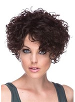 Women's Short Curly Natural Looking Hairstyles Afro Curly Synthetic Hair Capless Wigs 10Inch