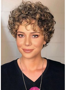 Women's Short Curly Bob Hairstyle Synthetic Hair Capless Wigs 8Inch