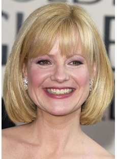 Short Bob Hairstyle Women's Blonde Straight Synthetic Hair Wigs With Bangs Capless Wigs 12Inch