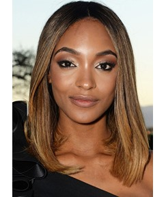 African American Women's Middle Part Straight Human Hair Lace Front Wigs 16Inch
