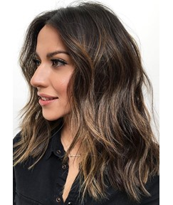 Women's Natural Hairstyles for Thick Hair Wavy Human Hair Lace Front Wigs 16Inch