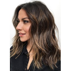 Womens Natural Hairstyles for Thick Hair Wavy Human Hair Lace Front Wigs 16Inch