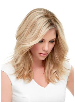 Natural Looking Women's Medium Hairstyles Wavy Synthetic Hair Lace Front Wigs 16Inch