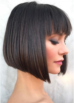 Women's Short Bob Hairstyle With Bangs Natural Straight Human Hair Lace Front Wigs 10Inch