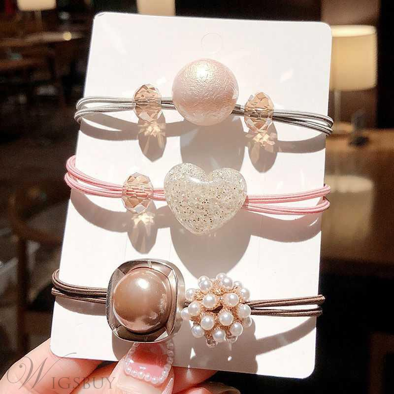 Lady/Women's Geometric Pattern Pearl Inlaid Technic Hair Rope Accessories For Birthday/Gift