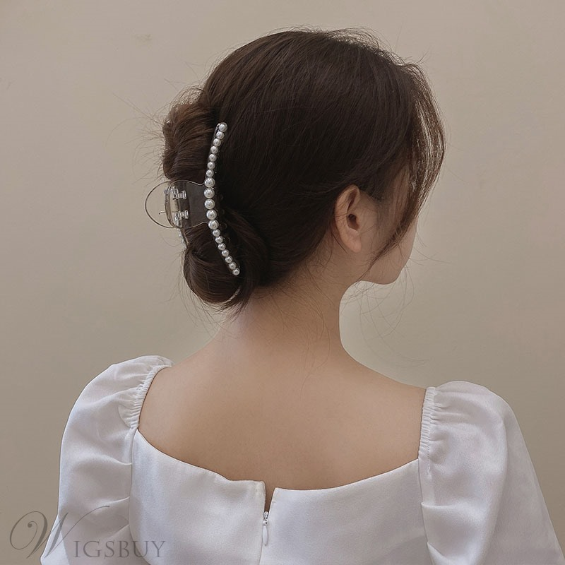 Women/Ladies Korean Style Pearl Inlaid Technic Hair Accessories Barrette For Gift