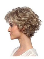 Short Curly Hairstyles Women's Blonde Color Lace Front Cap Wigs Synthetic Hair Wigs 12Inch