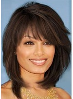 Medium Hairstyle Women's Layered Wavy Synthetic Hair Wigs With Bangs Capless Wigs 16Inch