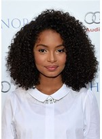 African American Women's Natural Looking Afro Curly Synthetic Hair Capless Wigs 18Inch