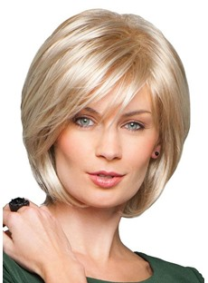 Women's Short Bob Hairstyle Natural Straight Blonde Human Hair Lace Front Cap Wigs 10Inch