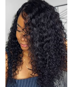Women's Kinky Curly Human Hair Wigs Natural Looking Curly Lace Front Cap Wigs 20Inch