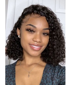 Women's Medium Bob Hairstyle Kinky Curly 100% Human Hair Lace Front Wigs 16Inch